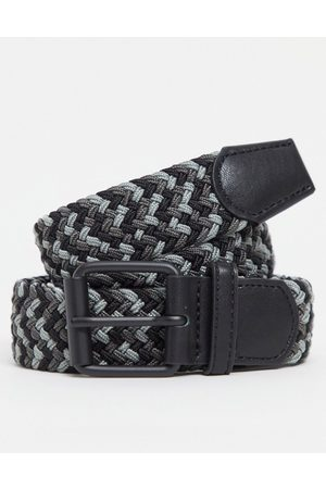ASOS DESIGN Slim woven belt in black and grey mix with black roller buckle
