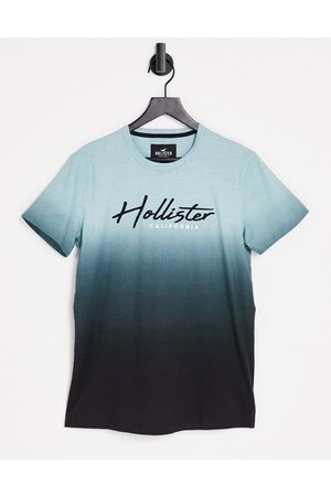 Hollister Core tech ombre t-shirt with logo in mint-Green