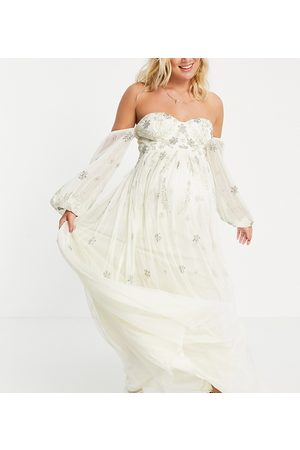 Maya Bardot long-sleeved tulle maxi dress with floral sequin in ecru-White