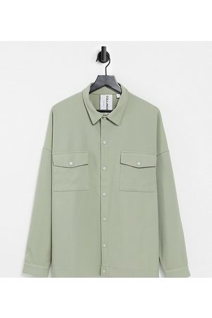Collusion Unisex oversized jersey shirt in heavy rib fabric in stone-Neutral