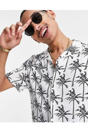ASOS Regular revere white shirt in palm sketch print