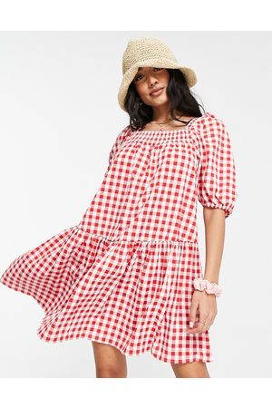 QED London Square-neck mini smock dress in red gingham