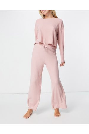 New Look Loungewear waffle boxy top co-ord in pink