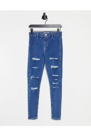 Topshop Joni ripped skinny jeans in mid blue
