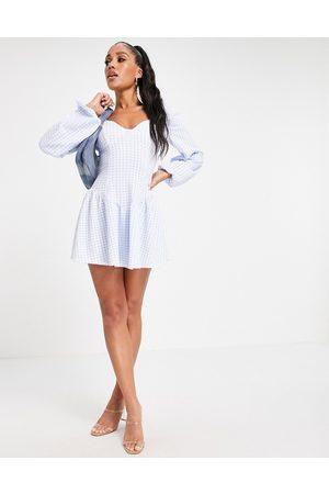 ASOS Women Printed Dresses - Corset drop waist skater mini dress in gingham print-Multi