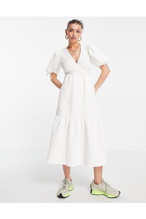 River Island Textured wrap midi dress in white