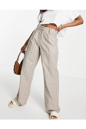 Motel High-waisted wide-legged pants in check co-ord-Neutral