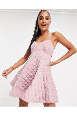 ASOS DESIGN Quilted halter mini skater dress in rose-Pink