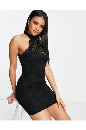 Ax Paris High neck mini dress in black-Navy