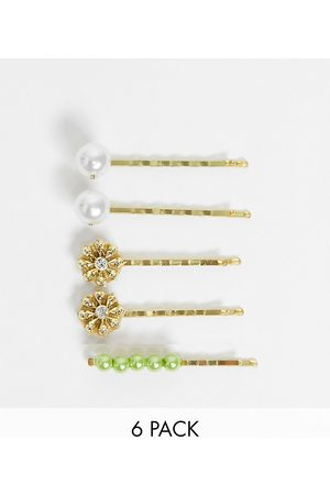 ASOS Pack of 6 hair clips with flower detail in gold tone