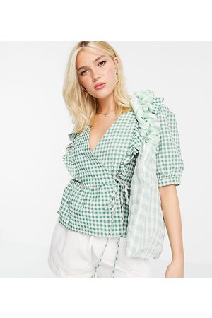 Nobody's Child Frill collar wrap blouse in gingham-Green