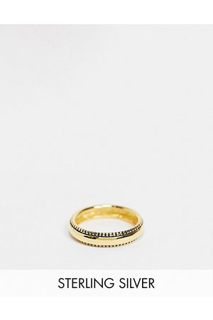 ASOS Sterling silver band ring with texture edge and gold plating