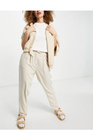 Object Women Formal Pants - Tapered pants with self belt in stone-Neutral