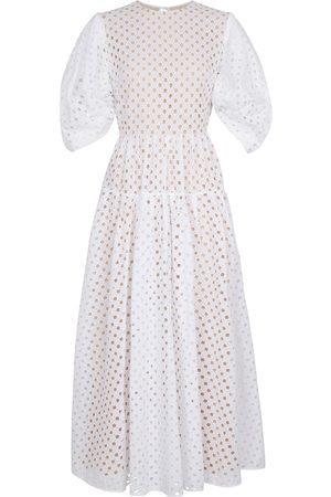 Oscar de la Renta Women Maxi Dresses - Broderie anglaise cotton maxi dress