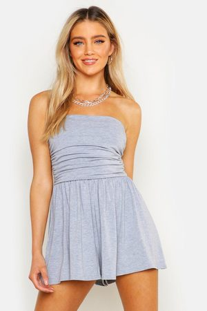Boohoo Women Playsuits - Basic Ruched Bandeau Playsuit- Marl