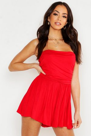 Boohoo Women Playsuits - Basic Ruched Bandeau Playsuit