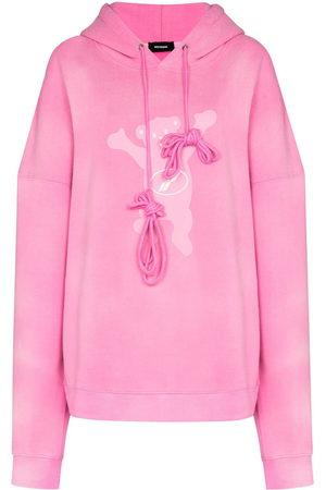 We11 Done Women Hoodies - Teddy-print relaxed-fit hoodie