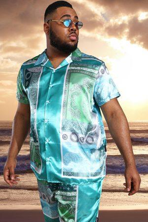 Boohoo Mens Mint Plus Satin Short Sleeve Bandana Shirt