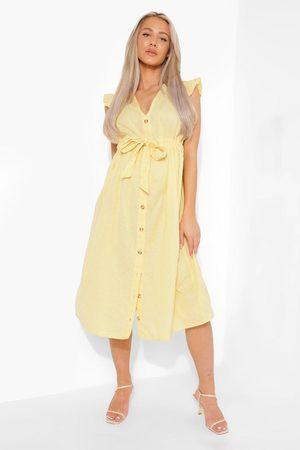 Boohoo Maternity Cotton Button Down Midi Dress