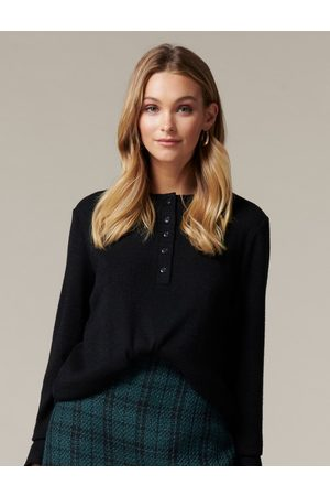 Forever New Women Sweaters - Sasha Relaxed Henley Jumper