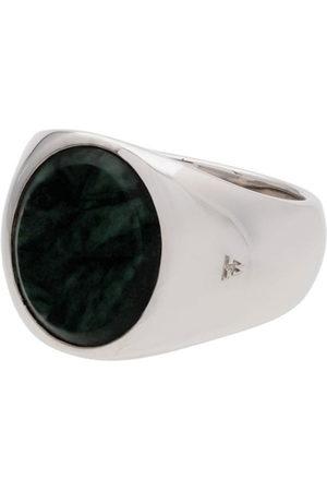 TOM WOOD Men Rings - Metallic oval green marble sterling ring