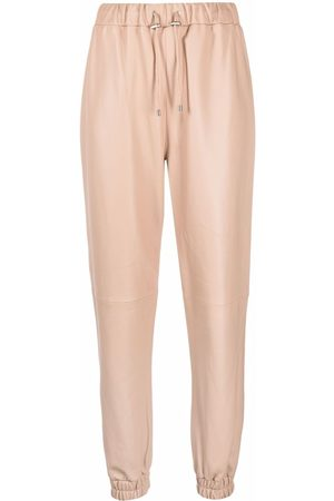 Philipp Plein Women Leather Pants - Leather drawstring jogging bottoms