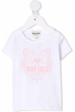 Kenzo Kids Short Sleeve - Tiger-print cotton T-shirt