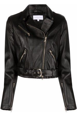 Patrizia Pepe Grained lambskin biker jacket