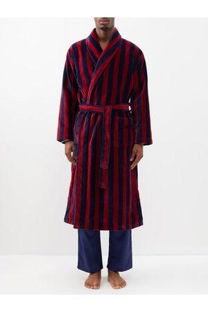 DEREK ROSE Men Bathrobes - Triton Belted Striped Cotton-blend Velour Robe - Mens - Multi