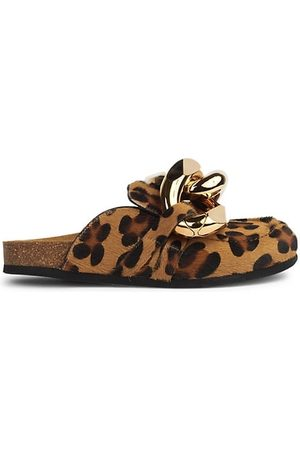 J.W.Anderson Loafers - Chain Leopard-Print Calf Hair Loafer Mules