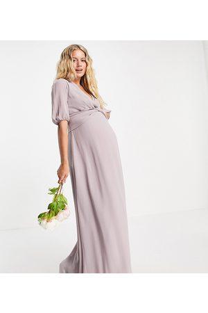 TFNC Women Maxi Dresses - Bridesmaid wrap front maxi dress in light grey