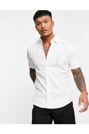 HUGO Short sleeves - Ermino slim fit short sleeve shirt with contrast logo in white