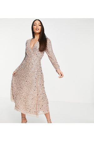 Maya Women Midi Dresses - Embellished wrap midi dress in blush-Pink