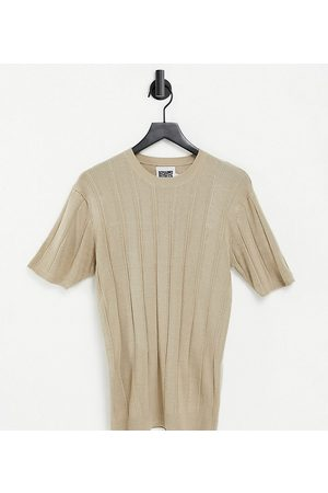Reclaimed Vintage Tops - Inspired fitted knit short-sleeved top in stone-White