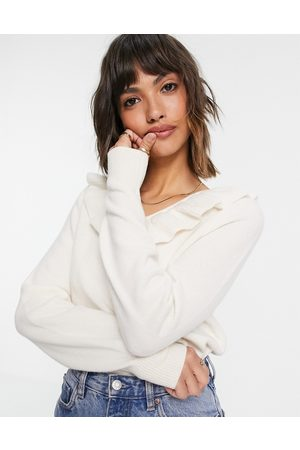& OTHER STORIES Women Jumpers - & recycled wool frill neckline knitted jumper in off white