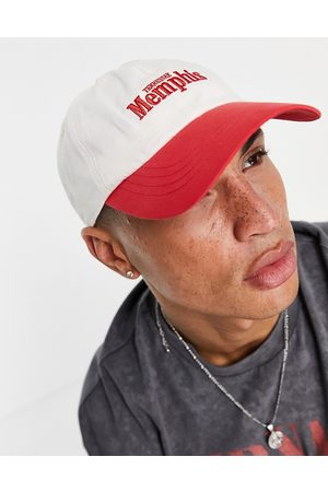 ASOS DESIGN 5 panel cap with text in red