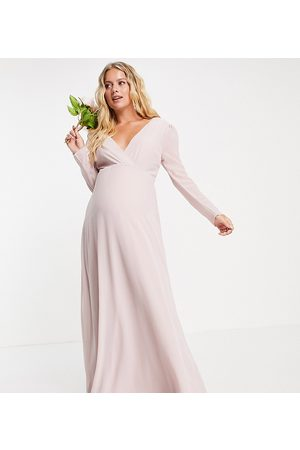 TFNC Maternity Women Maxi Dresses - Bridesmaid wrap front maxi dress with back detail in mink-Pink