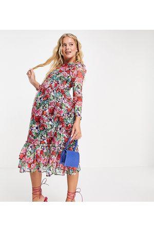 Little Mistress Maternity Long sleeve frill detail skater midi dress in rose floral-Multi