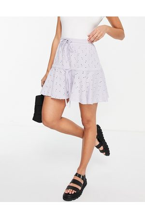 ASOS Broderie tiered mini skirt with tie detail in lilac-Purple