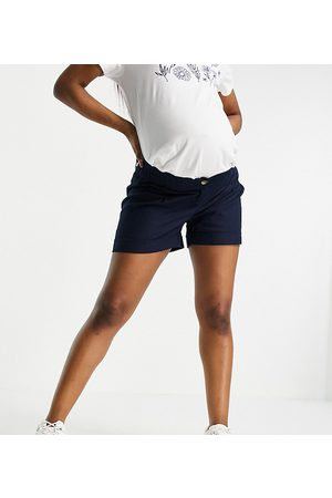 ASOS Women Bump Bands - ASOS DESIGN Maternity pleat front linen wide-legged short in navy with under the bump band