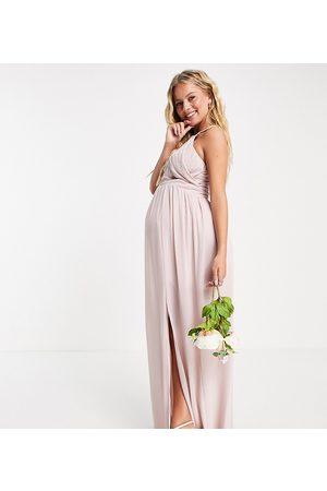 TFNC Women Maxi Dresses - Bridesmaid pleated maxi dress in mink-Pink