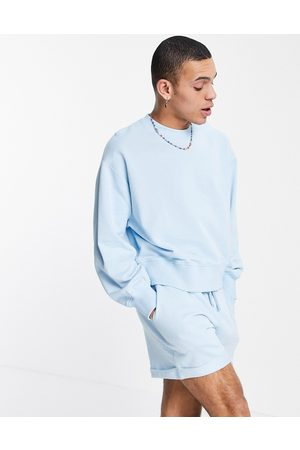 ASOS Co-ord oversized sweatshirt with exaggerated sleeve in blue