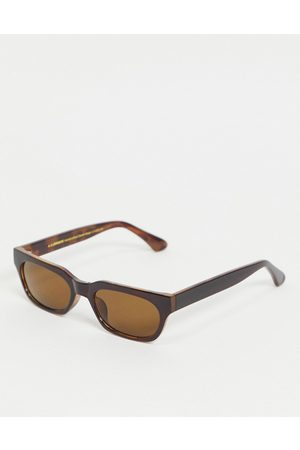 A. Kjærbede Bror unisex slim retro rectangular sunglasses in brown