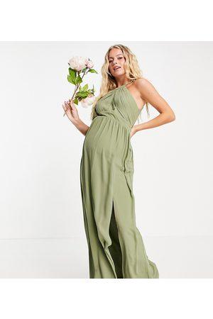 TFNC Women Maxi Dresses - Bridesmaid pleated maxi dress in dusky green
