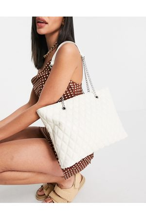 ASOS Off-white quilted tote with chain strap