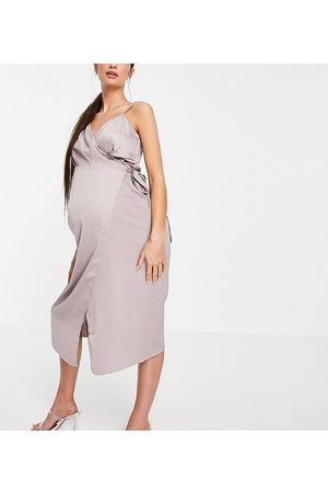 Little Mistress Maternity Satin wrap midi dress in oyster grey
