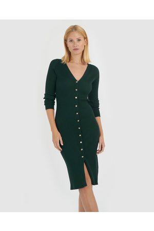 Forcast Women Bodycon Dresses - Rivera Button Up Knit Dress - Bodycon Dresses (Dark ) Rivera Button Up Knit Dress