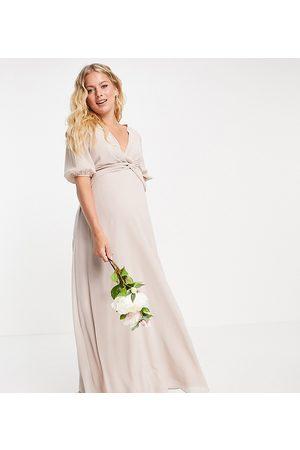 TFNC Women Maxi Dresses - Bridesmaid wrap-front maxi dress in pink
