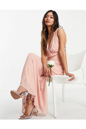 VILA Women Midi Dresses - Bridesmaid wrap front midi dress with tie detail in pink