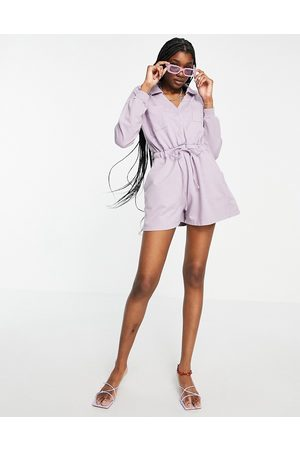 ASOS Women Joggers - Open collar trackies playsuit in washed lilac-Purple